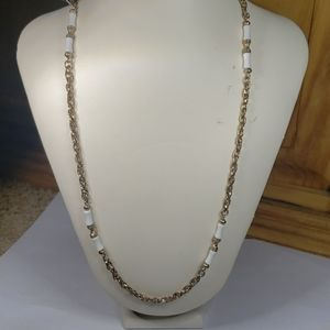 """Sarah Coventry 32"""" gold long necklace, white beads"""